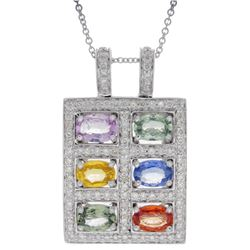 Natural 4.35 CTW Multi-Sapphire & Diamond Necklace 14K Gold - REF-113T4X
