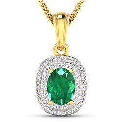 Natural 2.46 CTW Zambian Emerald & Diamond Pendant 14K Yellow Gold - REF-53R2F