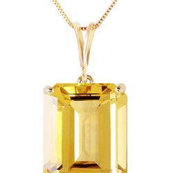 Genuine 6.5 ctw Citrine Necklace 14KT Yellow Gold - REF-35T2A