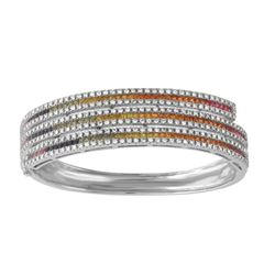 Natural 6.49 CTW Multi-Sapphire & Diamond Bangle 14K White Gold - REF-420T3X