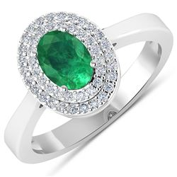 Natural 0.78 CTW Zambian Emerald & Diamond Ring 14K White Gold - REF-37H9M