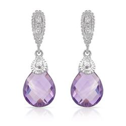 Natural 4.48 CTW Amethyst & Diamond Earrings 14K White Gold - REF-43N2Y