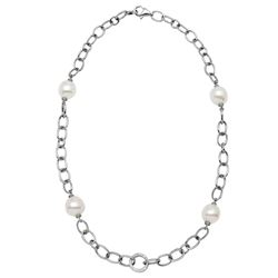 Natural 35.54 CTW Freshwater Pearl & Diamond Necklace 18K White Gold - REF-232W2H
