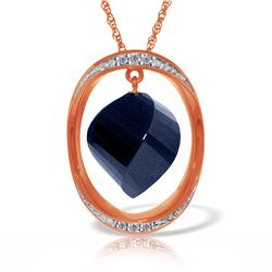 Genuine 15.35 ctw Sapphire & Diamond Necklace 14KT Rose Gold - REF-124P2H