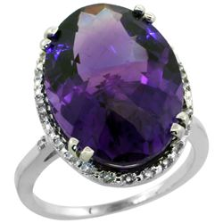 13.71 CTW Amethyst & Diamond Ring 10K White Gold - REF-57K6W