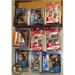 LOT OF 9  ASSORTED MLB/NHL MCFARLANE FIGURES