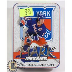 SEALED TIN OF METAL MESSIER HOCKEY CARDS