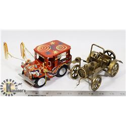 2 X DIE CAST BRASS & TIN CARS DECOR