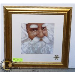 "GOLD-TONE FRAMED SANTA PICTURE (18""X18"")"