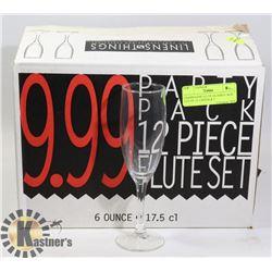 CHAMPAGNE FLUTE GLASSES- BOX LOT OF 12- LINENS & T