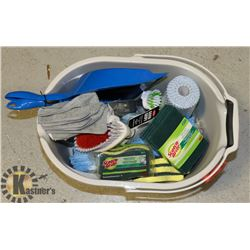 HOUSEHOLD CLEANING SUPPLIES- ASSORTED IN BUCKET