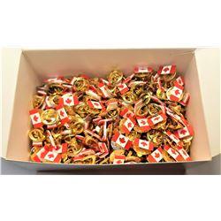 9)  LOT OF 200 CANADIAN FLAG LAPEL PINS