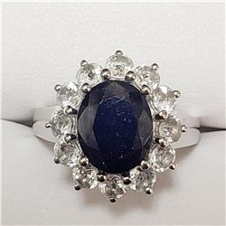 SILVER RHODIUM PLATED SAPPHIRE(4CT) RING