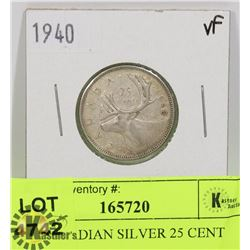 1940 CANADIAN SILVER 25 CENT COIN