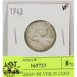1943 CANADIAN SILVER 25 CENT COIN