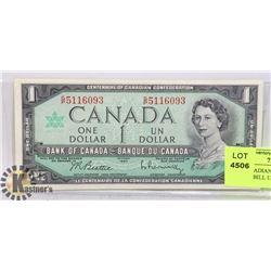 1967 CANADIAN \CENTENNIAL ONE DOLLAR BILL UNCIRC