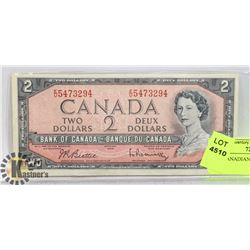 1954 CANADIAN $ 2 DOLLAR BILL