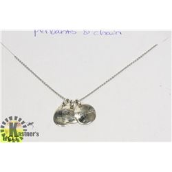STERLING SILVER .925 3 CHARMS AND CHAIN