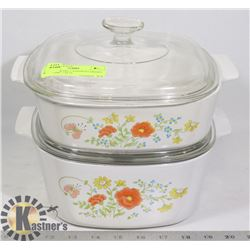 CORNINGWARE CASSEROLE DISHES WITH LIDS- 2 SETS