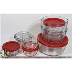 ANCHOR HOCKING GLASSWARE MICRO/STORAGE BOWLS/LIDS