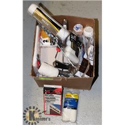 PAINTING TRAYS, ROLLERS, ROLLS, BRUSHES- ASSORTED