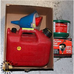 GAS CAN WITH PORTABLE FUEL FILTER & ASSORTED