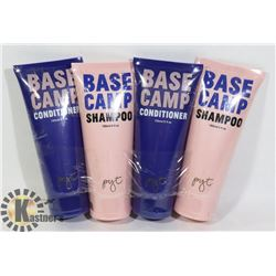 TWO BOTTLES OF BASE CAMP SHAMPOO AND TWO BOTTLES