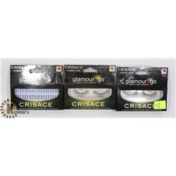 3 PACKS OF GLAMOUR 2 GO HUMAN HAIR FALSE EYELASHES