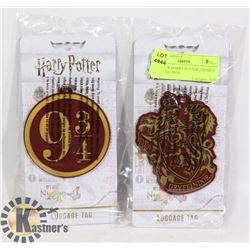 TWO NEW HARRY POTTER THEMED LUGGAGE TAGS