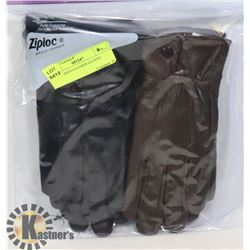 2PK LADIES LEATHER GLOVES SMALL