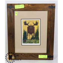 ESTATE FRAMED AND DOUBLE MATTED MOOSE PRINT