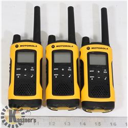 THREE MOTOROLA WALKIE TALKIES WITH BUILT IN