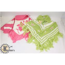 TWO SIZE SMALL  GIRL SWEATERS PONCHO