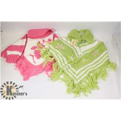 TWO SIZE MEDIUM  GIRL SWEATERS PONCHO