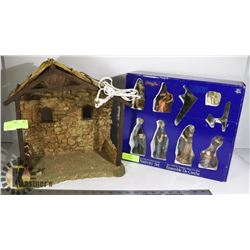 NATIVITY CRECHE WITH FIGURINES- CHRISTMAS