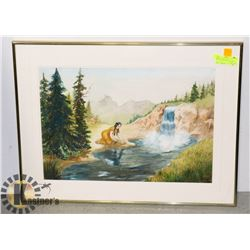 """ORIG WATERCOLOUR """"POCAHONTAS BY THE WATER"""