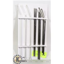 METAL & GLASS STRAWS WITH CLEANING BRUSHES (9)
