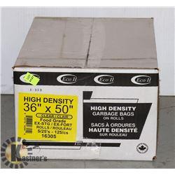 "CASE OF HIGH DENSITY 36"" X 50"" GARBAGE BAGS"