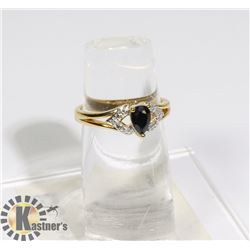 #196-BLUE SAPPHIRE + CZ RING SIZE 7