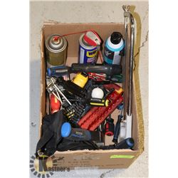 ESTATE BOX OF HAND TOOLS, WD40, AND MORE