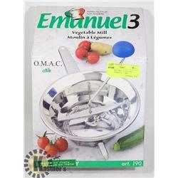 "VEGETABLE MILL- STAINLESS STEEL- ""EMANUEL 3"" BRA"