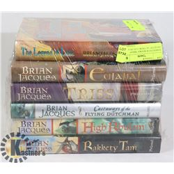 "HARDCOVER BOOKS ""BRIAN JACQUES"" AUTHOR- LOT OF 6"