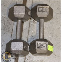 CAST IRON HEX WEIGHTS- 2 X 25 LB