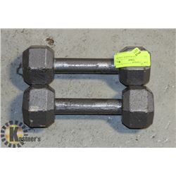 CAST IRON HEX WEIGHTS- 2 X 8 LB