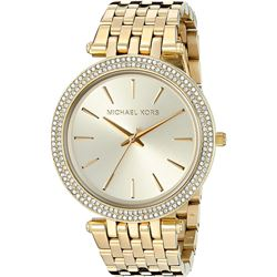 NEW MICHAEL KORS GLITZ GOLD DIAL PAVE BEZEL WATCH