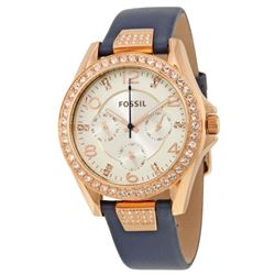 NEW FOSSIL TRIPLE CHRONO ROSE GOLD BEZEL MSRP$205