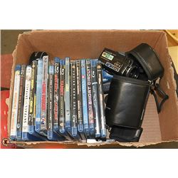 BOX WITH BLU-RAY MOVIES, SONY DVDS, AND MORE....