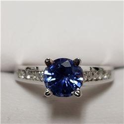 95) 14KT WHITE GOLD SAPPHIRE & DIAMOND RING.