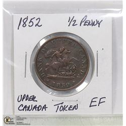 1852 UPPER CANADA ''DRAGON SLAYER'' HALF PENNY