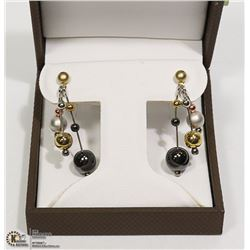 NEW PAIR OF STUD-HANGING BALL EARRINGS